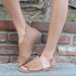 Shoes - Oxford Open Toe Shank Ballerina Flat
